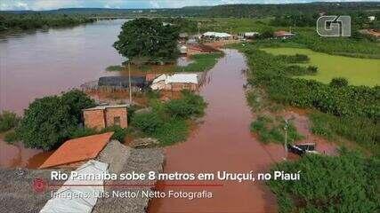 Rio Parnaíba sobe 8 metros em Uruçuí, no Sul do Piauí