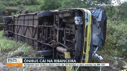 Acidente envolvendo um ônibus deixa mais de 20 feridos e causa duas mortes na BR-101