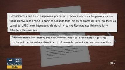 Coronavírus em SC causa impactos e suspensões em universidades