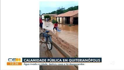 Calamidade pública em Quiterianópolis após água invadir a cidade