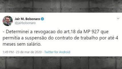 Bolsonaro revoga trecho de MP que suspendia contratos de trabalho e salários