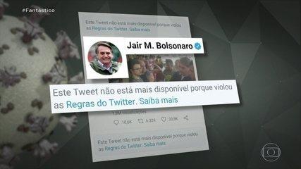 Rede social apaga posts de Bolsonaro por violarem regras