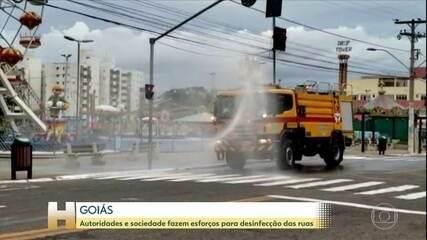 Autoridades e sociedade civil unem esforços para desinfecção de ruas em Goiás