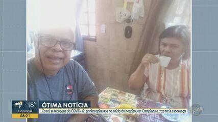 Casal se recupera da Covid-19 e ganha aplausos na saída do hospital em Campinas