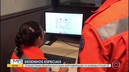 Crianças fazem desenhos para quem está trabalhando no combate à Covid-19