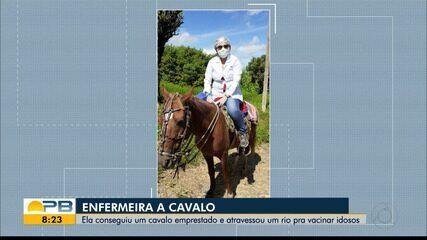 Enfermeira usa cavalo para atravessar rio e vacinar três idosos contra gripe, no Sertão
