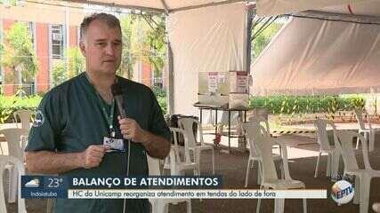 Hospital das Clínicas da Unicamp reorganiza atendimento em tendas do lado de fora