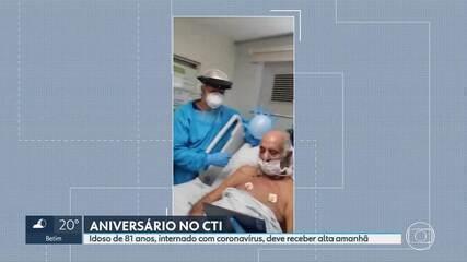 Paciente com Covid-19 celebra 81 anos com festa no CTI