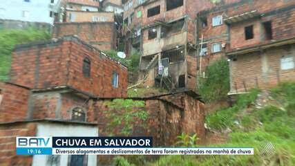 Diversos alagamentos e deslizamentos de terra registrados em Salvador por causa da chuva