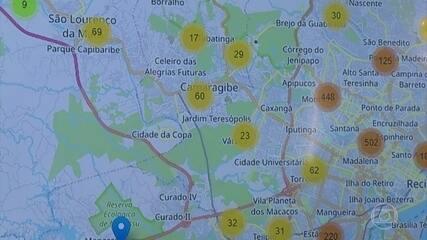 Mapa virtual mostra localização dos casos do novo coronavírus em Pernambuco