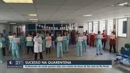 Profissionais da saúde gravam clipe com música de aluno de São José do Rio Pardo