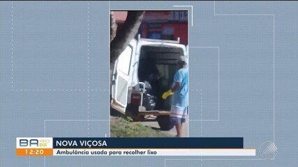 Flagrante: ambulância é utilizada na coleta de lixo, na cidade de Nova Viçosa