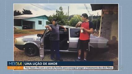Pais fazem rifa com carro da família para conseguir pagar tratamento dos filhos