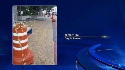 Praças de Capão Bonito são bloqueadas pela prefeitura para evitar aglomeração