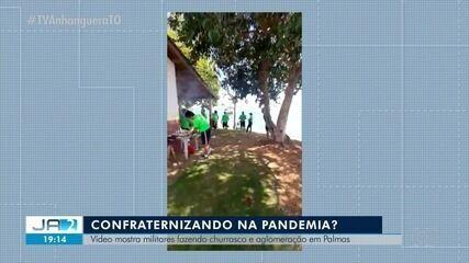 Vídeo mostra policiais fazendo confraternização na beira do lago em Palmas