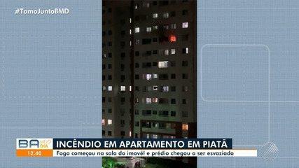Apartamento é atingido por fogo e prédio é esvaziado no bairro de Piatã