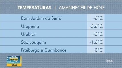 Bom Jardim da Serra amanhece com -6ºC nesta quarta-feira em SC