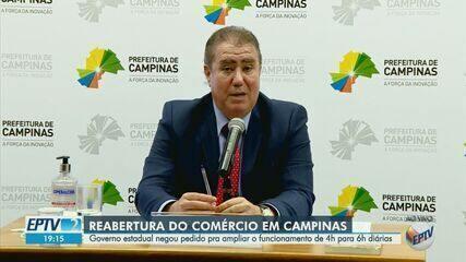 Covid-19: Estado nega ampliar horário do comércio e abertura de restaurantes em Campinas