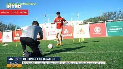 Volante do Inter Rodrigo Dourado se recupera de lesão no joelho esquerdo