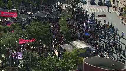 Manifestantes contra o governo Bolsonaro se reúnem em São Paulo