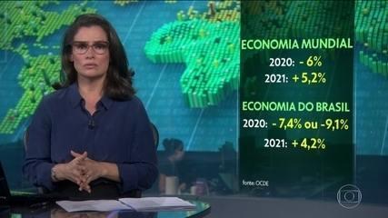 Economia mundial deve encolher 6% e brasileira, 7,4% prevê OCDE