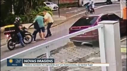 Novas imagens mostram a médica, Tyciana Azambuja, sendo agredida por um motoboy