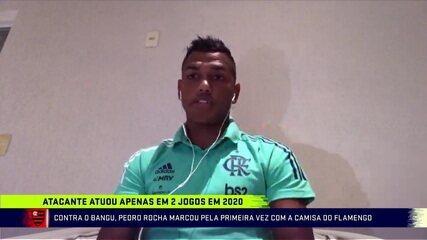Atacante do Flamengo, Pedro Rocha comenta a volta do futebol e o primeiro gol pelo clube