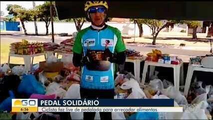 Ciclista faz live de pedalada para arrecadar alimentos em Mineiros