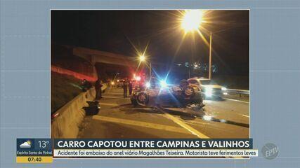 Homem fica ferido após capotar carro na Rodovia Francisco Von Zuben, em Valinhos