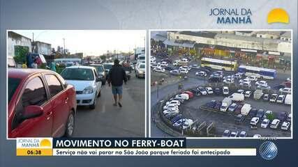 Região do ferry boat amanhece com grande engarrafamento no início desta terça-feira
