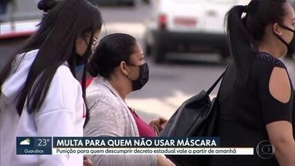 Multa de R$ 500 para quem não usar máscara vale a partir de amanhã