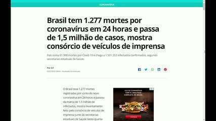Brasil tem 1.501.353 casos de coronavírus e 61.990 mortes, informa consórcio de imprensa