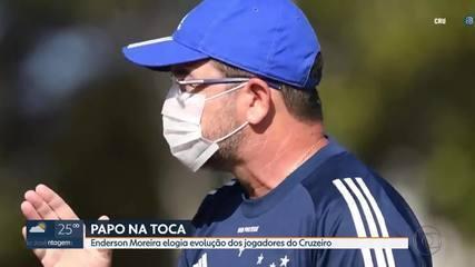 Em treino, Enderson Moreira elogia evolução dos jogadores do Cruzeiro
