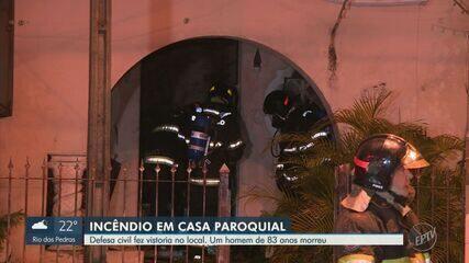 Defesa Civil faz vistoria e interdita casa paroquial incendiada em Campinas