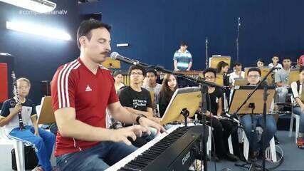 Reveja: PT 2 'Pequenos Músicos' e Roger Santorini no aniver de 1 ano do Compartilha