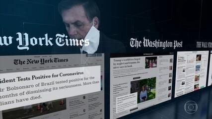 Diagnóstico de Covid-19 para Bolsonaro ganha a capa dos principais jornais do mundo