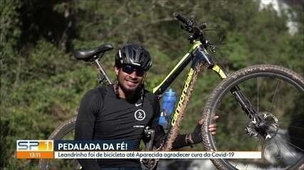Leandrinho, do basquete, cumpre promessa e vai a Aparecida de bike após superar covid-19