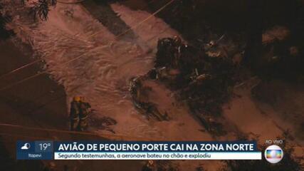 Avião de pequeno porte cai na Zona Norte de São Paulo
