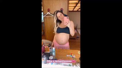 Horas antes de parto, Giovanna Ewbank mostra barriguinha e relata chutes de Zyan e cólica