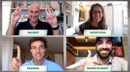 Nalbert conversa comJackie Silva, Bruno Schmidt e Emanuel,campeões do vôlei de praia