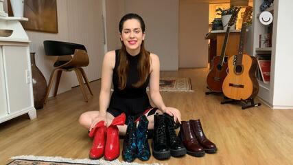 Sophia Abrahão mostra coleção de botas em homenagem ao Dia do Rock