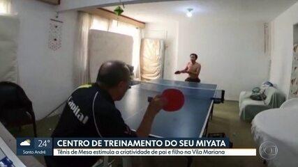 Pai e filho montam verdadeira arena de Tênis de Mesa em apartamento durante pandemia