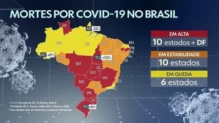 Média Móvel: dez estados e o DF têm alta no número de mortes por Covid-19
