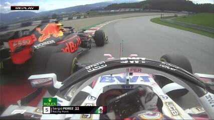 Pérez quebrando asa dianteira no GP da Estíria