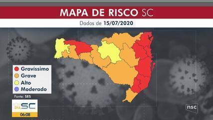 SC tem 7 regiões em nível gravíssimo de risco para coronavírus