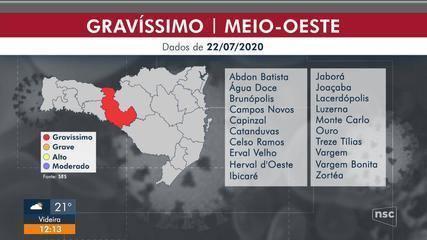 20 municípios do Meio Oeste de SC estão em risco gravíssimo para o coronavírus