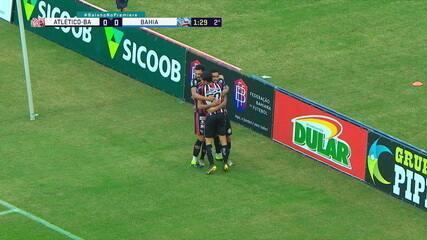 Gol do Atlético-BA! Magno Alves aproveita cruzamento, desvia e balança as redes, com 1 minuto do 2º
