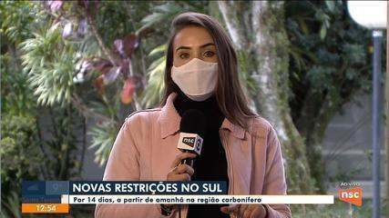 Região Carbonífera tem novas restrições contra Covid-19 a partir de quinta