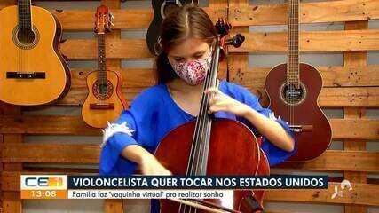 Violoncelista quer tocar nos Estados Unidos e família faz 'vaquinha virtua'