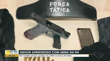 Adolescente de 16 anos é apreendido com arma roubada da Polícia Militar em Vila Velha, ES